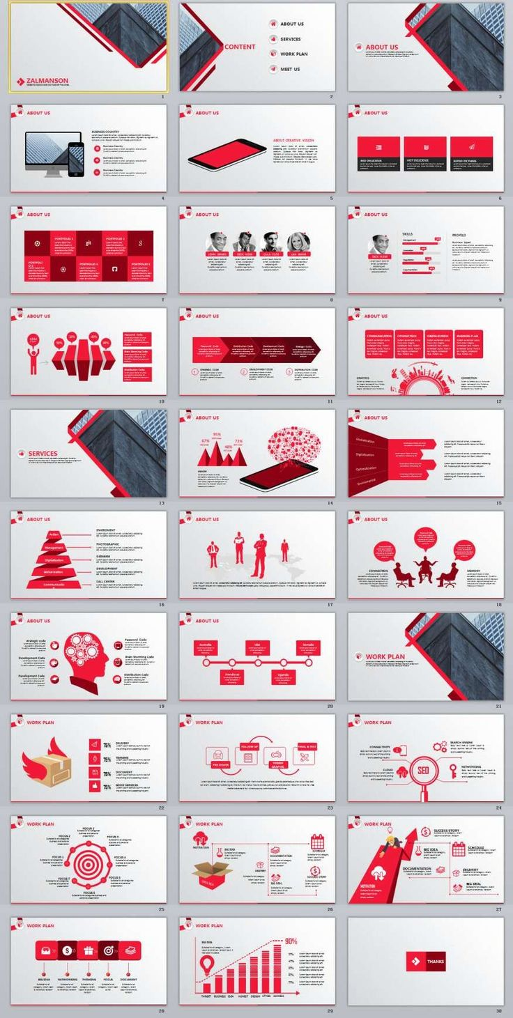 30+ Red business report PowerPoint Template