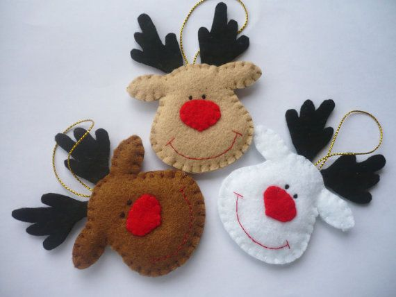 "Rudolph the Red Nosed Reindeer, Felt Christmas Ornament~Set of 3 By ynelcas @Etsy: $17.99. You will receive THREE ornaments.One brown reindeer, one white reindeer and one fawn reindeer. • felt in brown, white, fawn, black and red • size 2.75"" x 4.5"" • gold ribbon for hanging • gently stuffed with polyester fiberfill."
