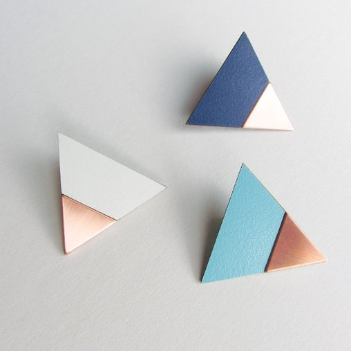 Copper and Formica Triangle Pins