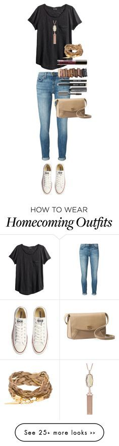 """""""Homecoming football game Friday"""" by absters0 on Polyvore featuring Current/Elliott, Converse, H&M, UGG Australia, Bobbi Brown Cosmetics, Urban Decay, LORAC and Kendra Scott"""