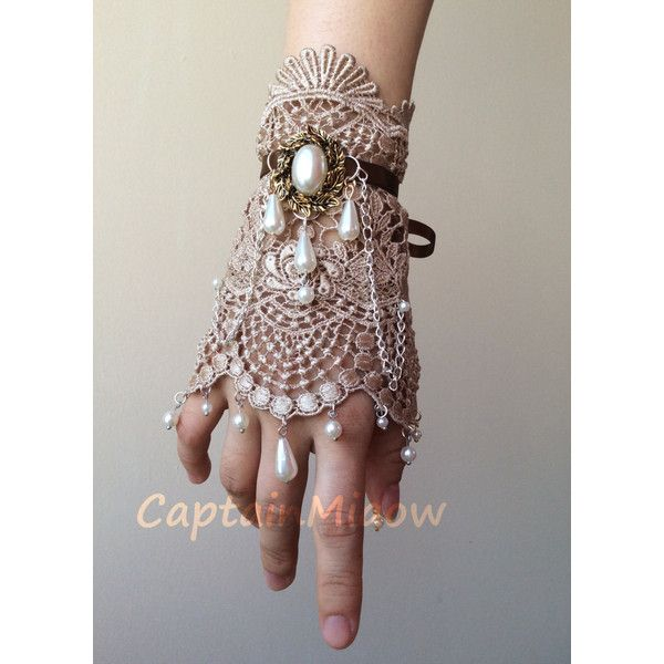 Princess,Gothic ,Classic Lori Lolita Champagne Lace Pearl Cuff... ($25) ❤ liked on Polyvore featuring jewelry, bracelets, accessories, gloves, party jewelry, pearl bangle, pearl cuff bracelet, chain cuff bracelet and lace cuff bracelet