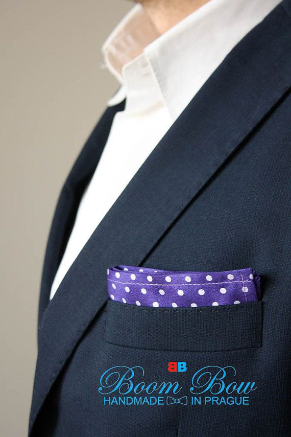 Pocket Square 16 Cotton violet purpure polka dot by BoomBowTie