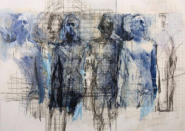 "Saatchi Online Artist: Ulrike Bolenz; Mixed Media, 2011, Painting ""Blaue Gruppe II"""
