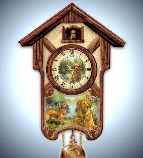 Gentle Golden Retrievers Cuckoo Clock Cuckoo Clocks