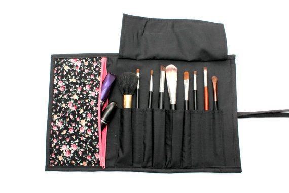 Fetching Floral Brush Roll With Zippered Pocket.