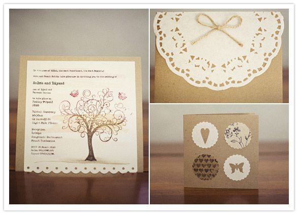 handmade invites: hand stitched, water colored, & stamped <3