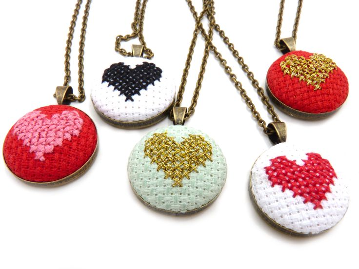 Zelma Rose Dry Goods: cross-stitched pendants to make your heart go BOOM.