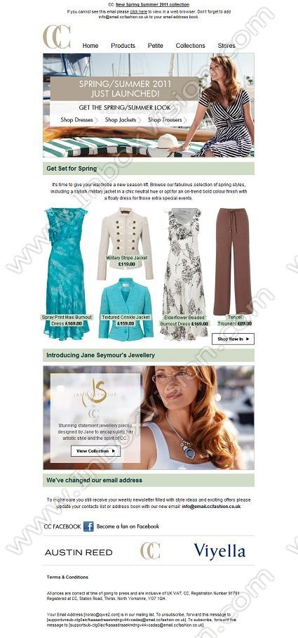 Company:  CC Fashion Subject:  New Spring Summer 2011 Collection              INBOXVISION providing email design ideas and email marketing intelligence.    www.inboxvision.com/blog/  #EmailMarketing #DigitalMarketing #EmailDesign #EmailTemplate #InboxVision  #SocialMedia #EmailNewsletters