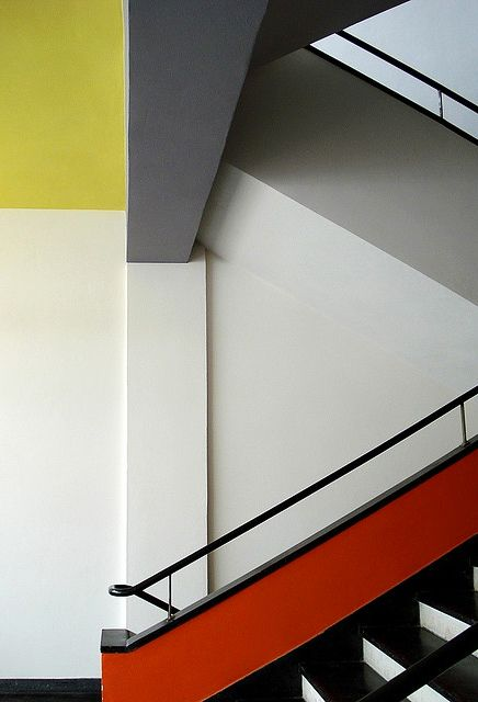 A staircase at Bauhaus School of Art and Design, Dessau. / Google