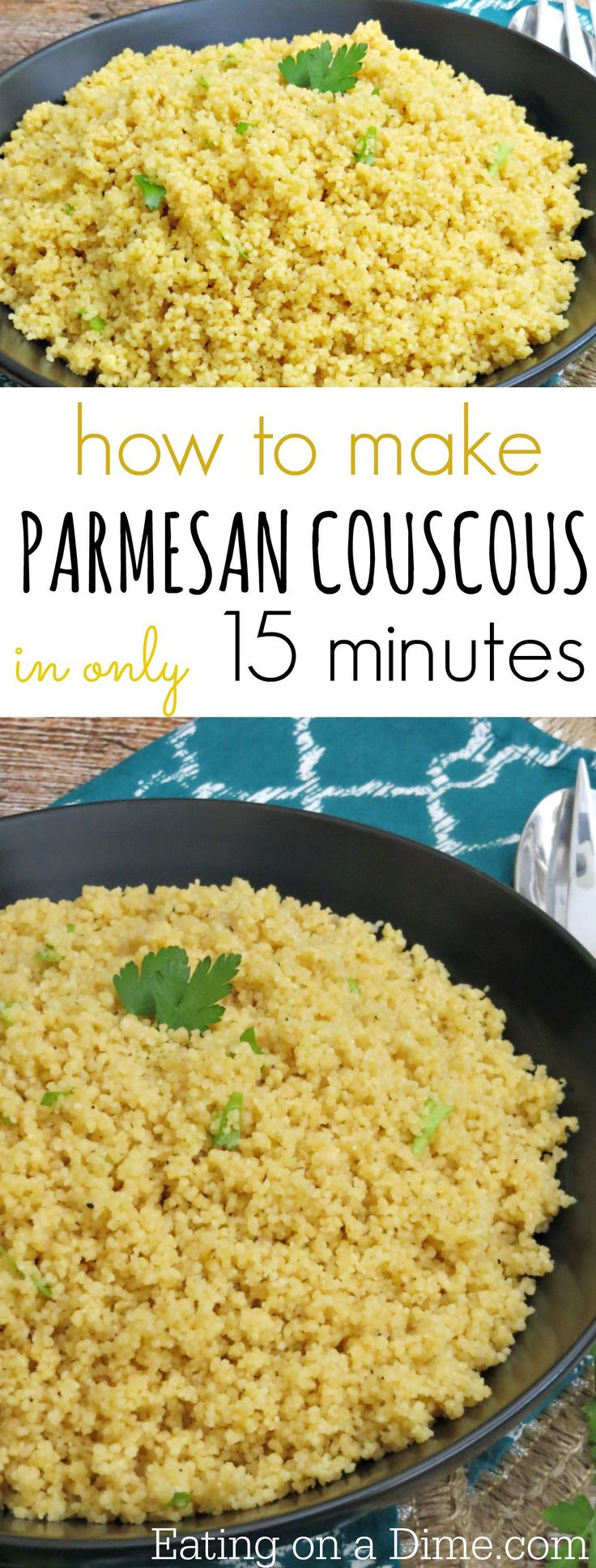 How to make Parmesan Couscous recipe.  I have a delicious 15-Minute Parmesan Couscous recipe for you today. This makes a tasty side dish for just about any meal like my Crock Pot Chicken Parmesan.