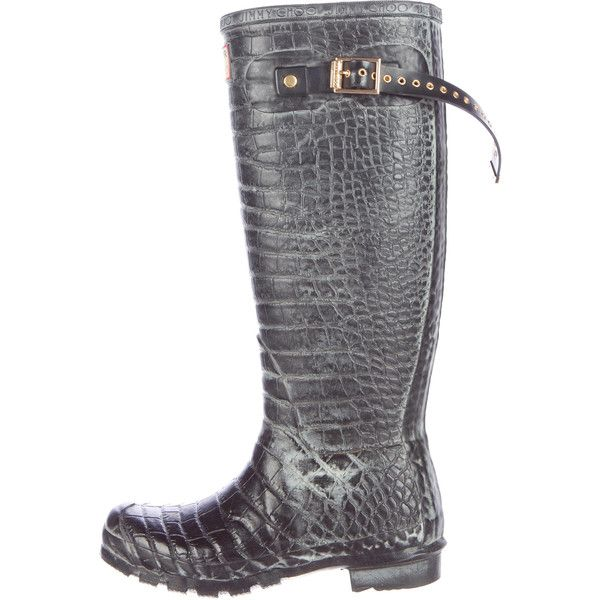 Pre-owned Jimmy Choo x Hunter Embossed Rain Boots (€205) ❤ liked on Polyvore featuring shoes, boots, black, black buckle boots, wellington boots, black boots, distressed black boots and black rubber boots
