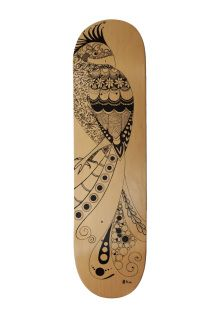 Show Me Phoenix - Hand illustrated 8in skateboard deck.  Beautiful and intriguing, the phoenix wants you to see her in all her glory.  This is a one of a kind, hand drawn 8in deck on quality Californian manufactured Canadian Maple. Ride 'em or hang them on your wall, it's up to you.  This item is deck only (i.e. no trucks, wheels, etc). Comes without grip tape to avoid damage to your wall.