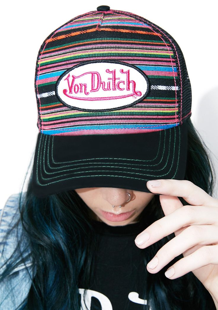 Von Dutch Blanket Hat will have ya ready for the next beach bonfire. This hat features a black bill and mesh back panel, a striped front with a Von Dutch patch, and an adjustable back closure.