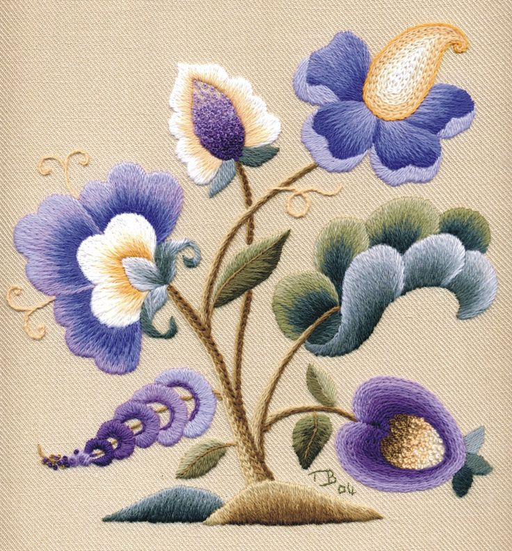 Beautiful Crewel Project stitched by Trish Burr