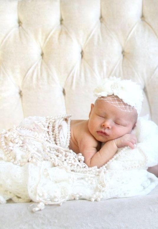 Newborn baby girl white pearls