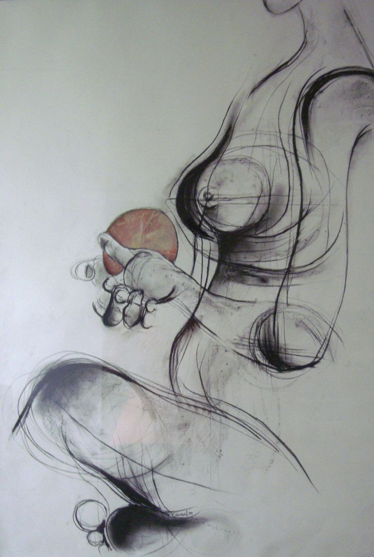 'Nude with Ball', charcoal on paper, 81cm x 57cm (c)Carmel Jenkin. More info about me & my art at http://carmeljenkin.com