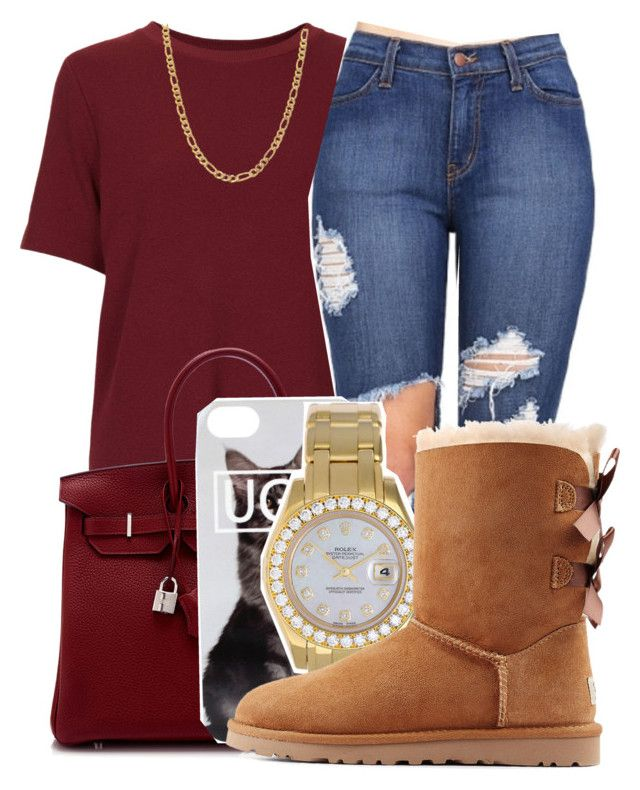 """""""Untitled #414"""" by kenziesg ❤ liked on Polyvore featuring Topshop, Hermès, Rolex, UGG Australia and Fremada"""