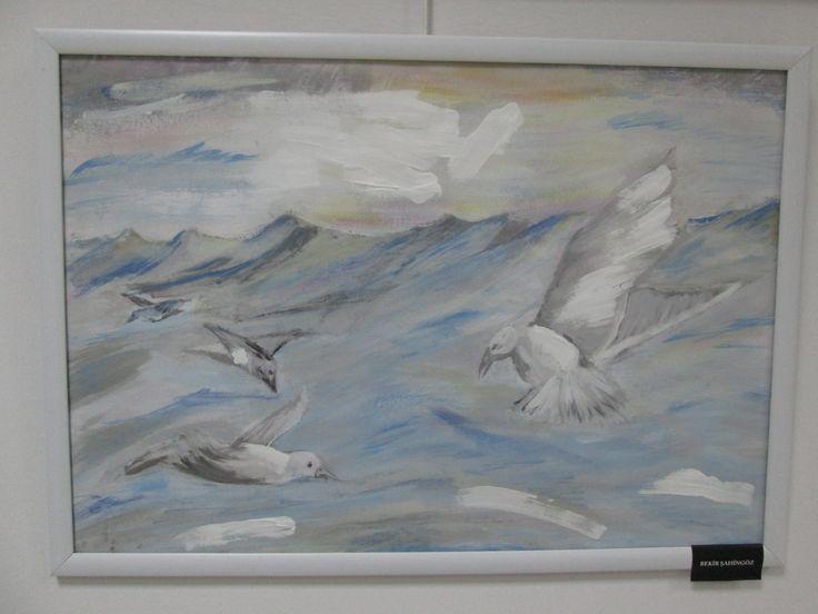 Su bazlı plastik boya- sulu boya-deniz ve martılar...Water based plastic paint-watercolor paint-sea and gulls...for sale -BURSA