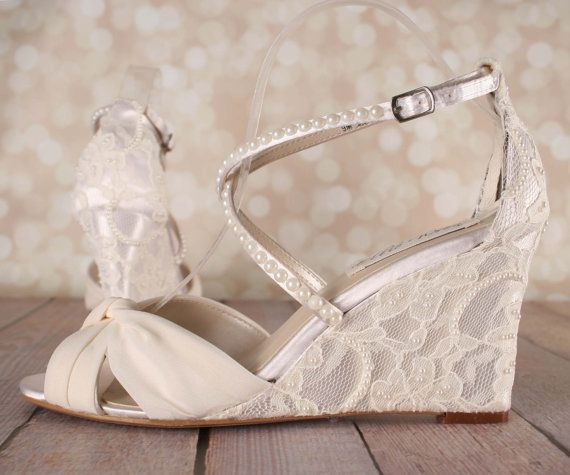 Ivory Wedding Shoes / Lace Wedge Wedding by EllieWrenWeddingShoe