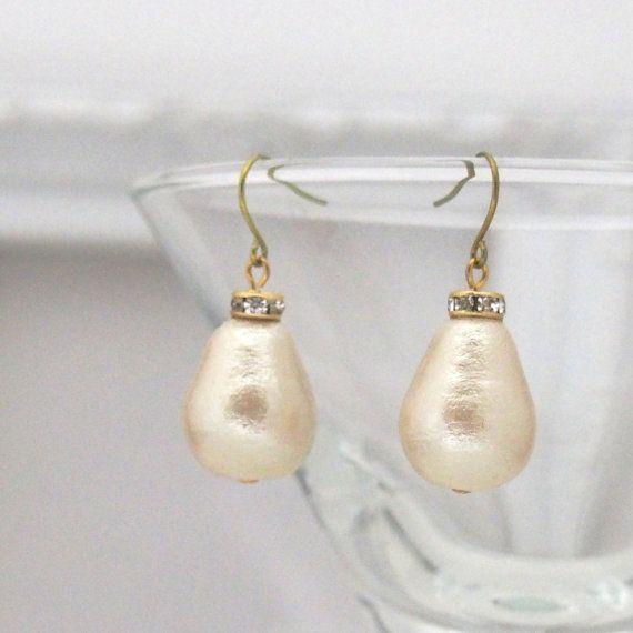 Classy Light Beige Dangle Teardrop Cotton Pearl by MiyabiGrace