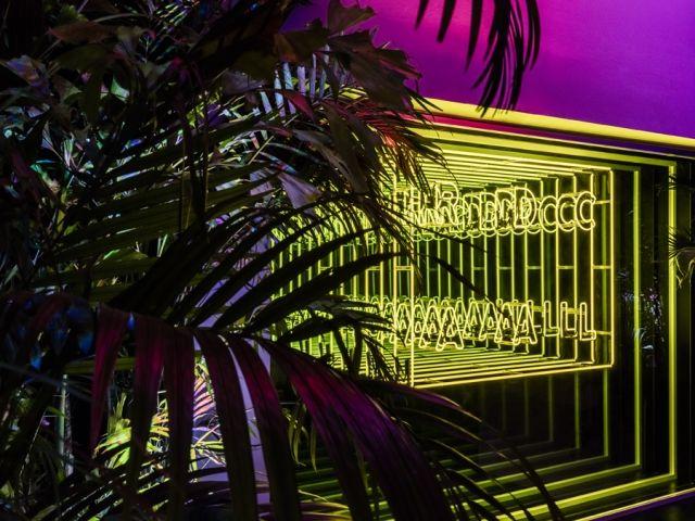 MIAMI –Epitomisedin neon tropics,Rafael de Cárdenas' pop-up loungeatthe Miami Design District was conceivedwith Alexandra Cunningham Cameron, Maharam and PopLab.
