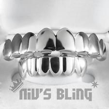 18K White Gold Plated GRILLZ 8 Tooth Top & Bottom Silver STAINLESS STEEL Grill