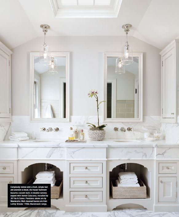 transitional white marble bathroom | Luxe Magazine Spring 2013 by Scavullo Design