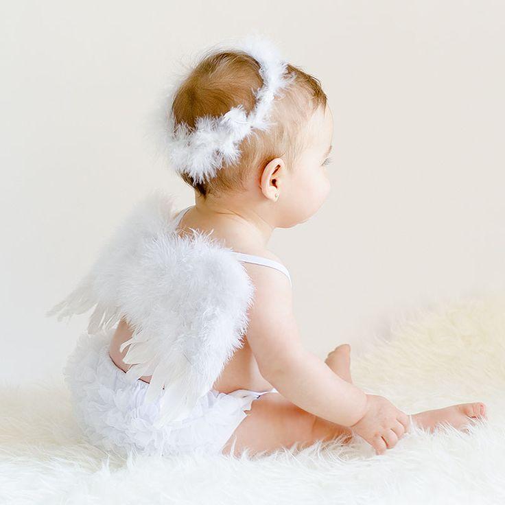 Disfraz de ángel. Disfraz para bebé. Angel con alas y corona. Para sesiones de fotos.