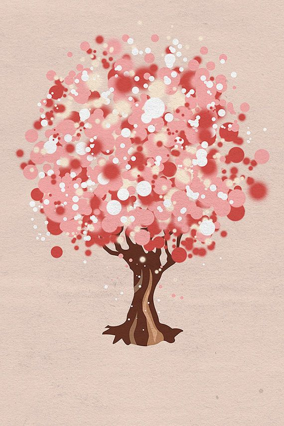 Pink Champagne Tree 12x18 by papermoth on Etsy