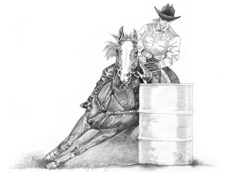 "Barrel Racer Clip Art Free | Barrel Race ""Turn & Burn""- Pencil: Clip"
