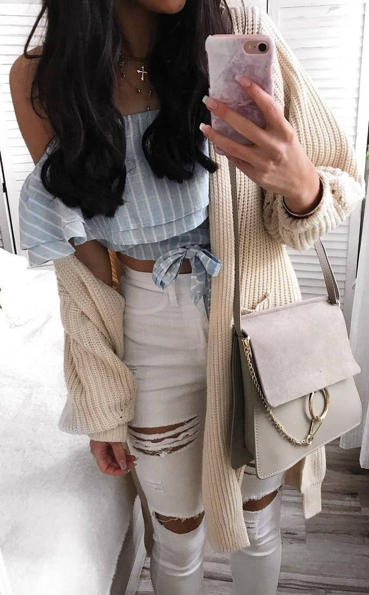 beautiful outfit idea / one shoulder stripper top + nude cardigan + bag + white rips