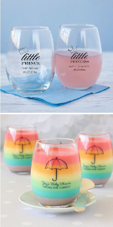 Send guests home with personalized stemless wineglasses for your sophisticated baby shower! They're the perfect memento from celebrating your special occasion.