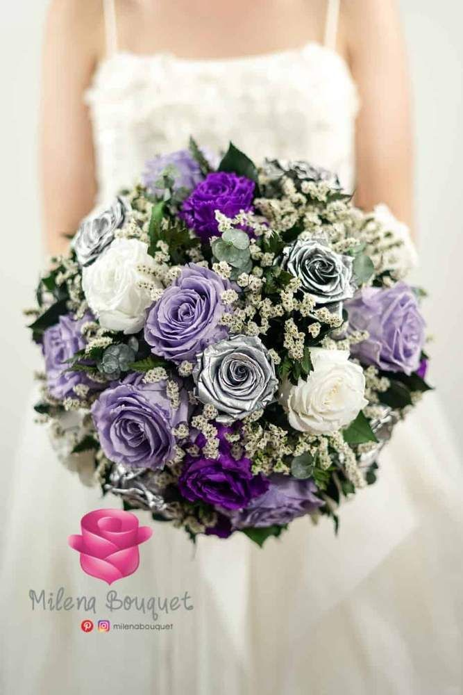 Lavender And Silver Wedding Bouquet Preserved Large Roses Wedding Bouquets Pink Wedding Bouquets Silver Wedding