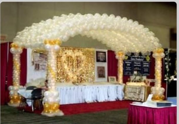 Balloon arch tunnel in colors to match your wedding red for Arch decoration pictures