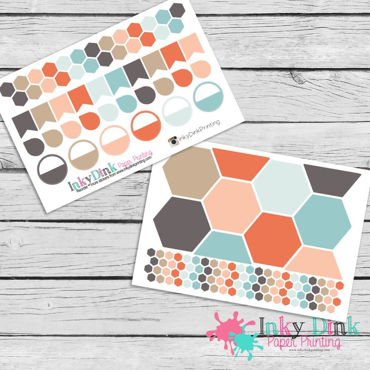 Neopolitan Hexagon Stickers / Planner Stickers / Weekly Layout Stickers / Inkwell Press Stickers / Calendar Stickers / IWP-NP (6.00 USD) by InkyDinkPrinting