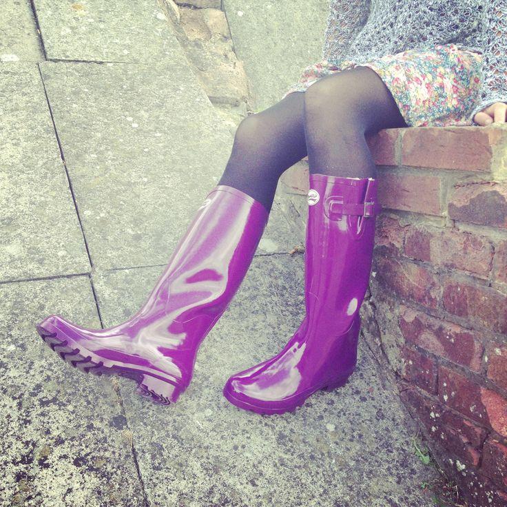 Plum tastic! www.rockfishwellies.com rain boots. Perfect for college