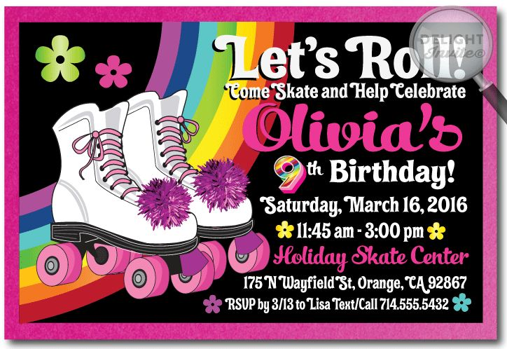 Roller-Skate Birthday Party Invitation Rollerskate Party Birthday Invitation [DI-225] : Custom Invitations and Announcements for all Occasions, by Delight Invite