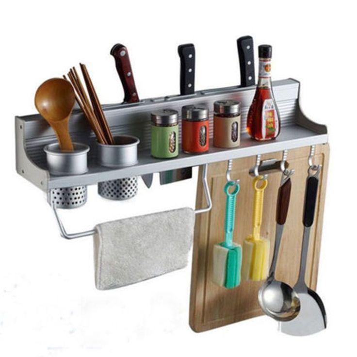 JETTING Aluminum Kitchen Storage Rack Pantry Pan Pot Organizer Cookware Holder Hooks Spice Dinnerware wall Shelf 50cm