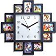 LIVIVO ® Black 12 Picture Photo Frame Wall Clock- Stylish Modern Family Picture Frame and Time Piece: Amazon.co.uk: Kitchen & Home