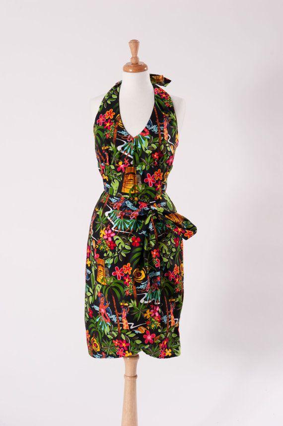 Wrap Dress - Hawaiian Luau Dress - Tiki Dress - Tropical Dress - Pinup Dress - Pin Up Dress - Pin Up Clothing - Womens 6 or 10