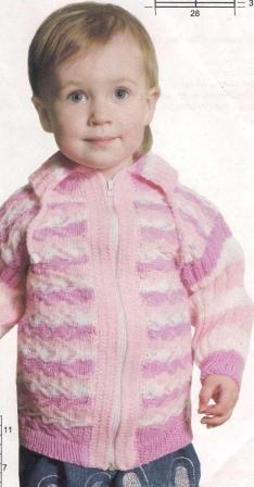 Полосатая детская кофточка | ВЯЗАНИЕ спицами и крючком.