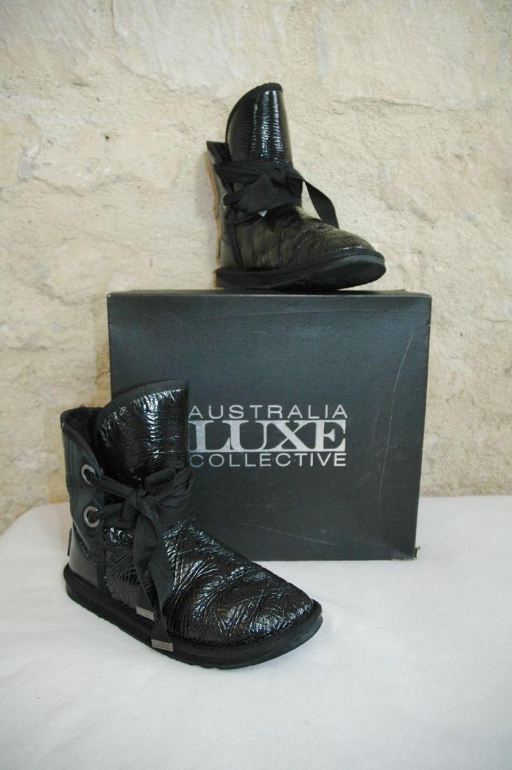 Botte mi mollet fourrée AUSTRALIA Luxe Collective noir vernis 41 | eBay