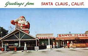 Vintage postcard of Santa Clause Lane, Carpenteria, California. Off of HWY 1 (by the beach).