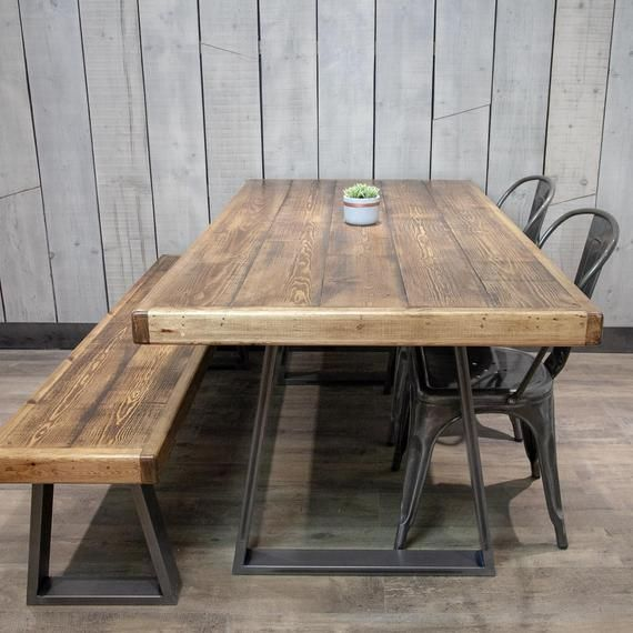 A Handmade Dining Table With Stunning Trapeze Shaped Steel Legs