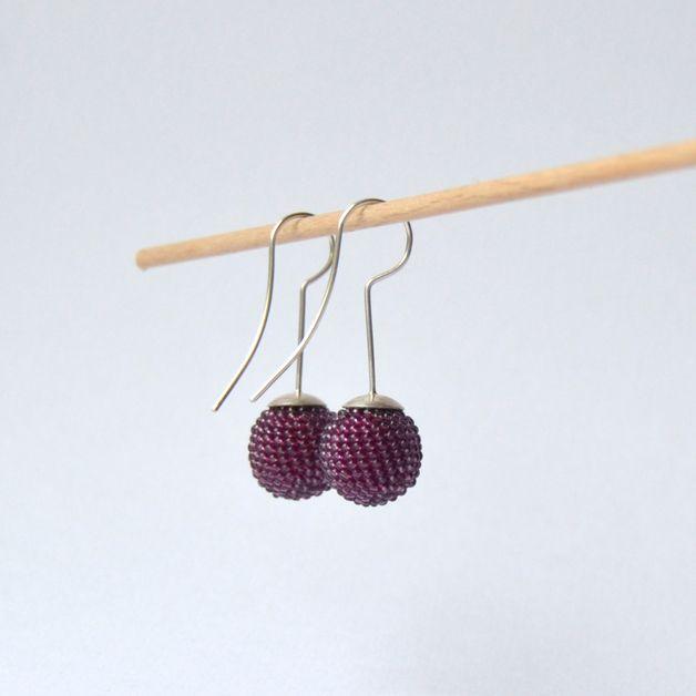 Silber Ohrringe - weinrot violette Kugel Ohrringe - ein Designerstück von Donauluft bei DaWanda