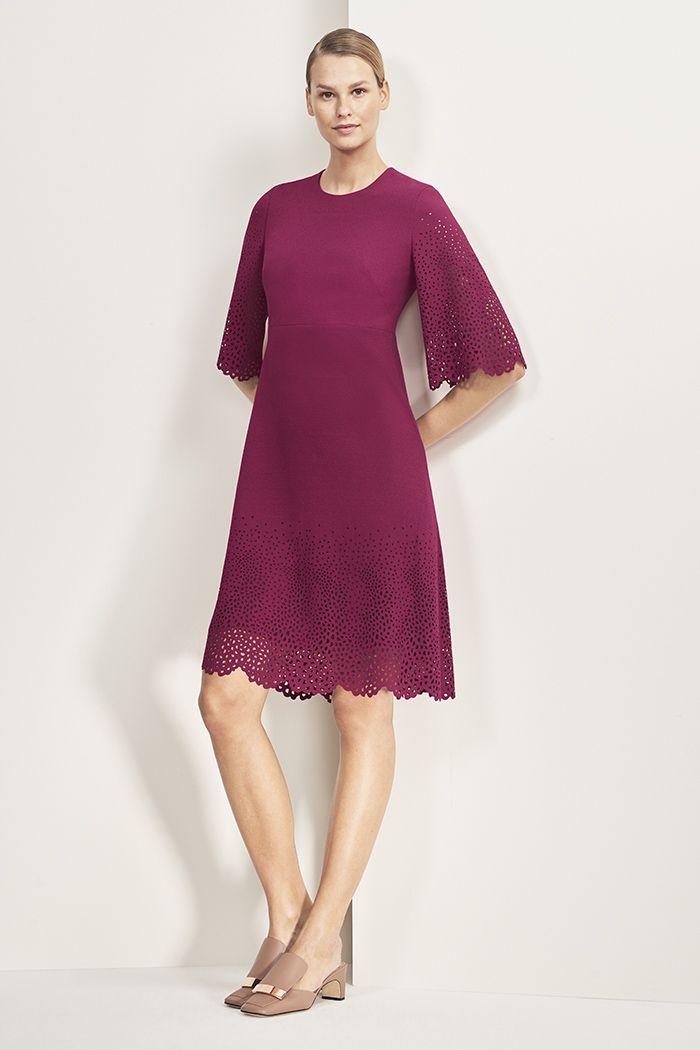 e53929677 Edenwood Dress Fuchsia Lasercut Crepe | Eyelet and lasercut ...