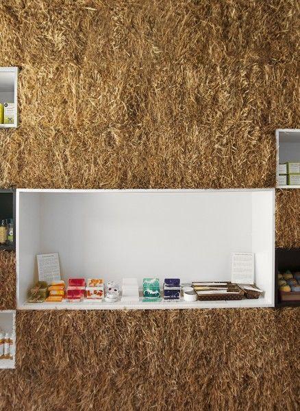 Straw Bale Boutique Pieknalia.  Is an ecological cosmetics shop.  Location: Krakow; firm: Hornowski Design; Photo: Anna Jasztal