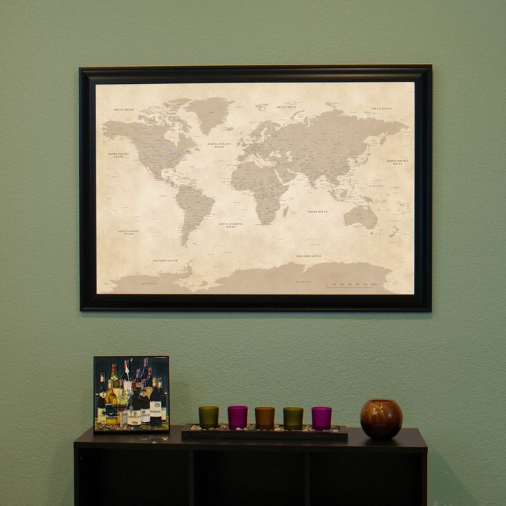 Vintage World Push Pin Travel Map with Pins and  Frame  - Push Pin Travel Map by PushPinTravelMaps on Etsy https://www.etsy.com/listing/225847013/vintage-world-push-pin-travel-map-with