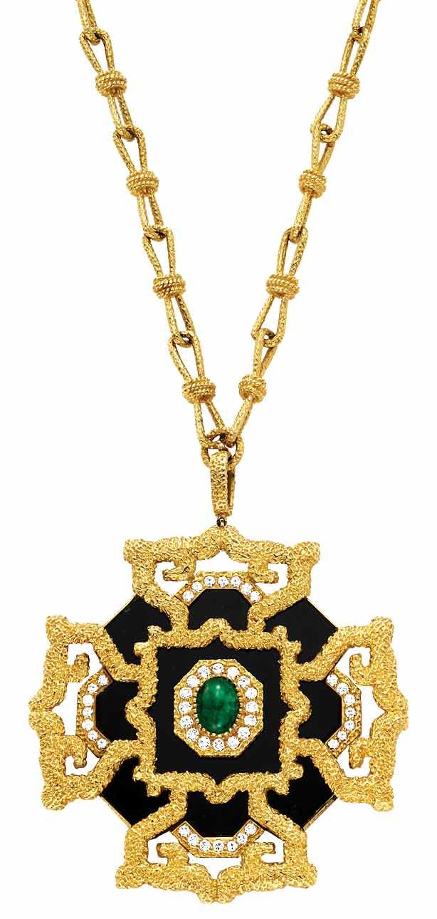 """""""Say a Prayer"""" Van Cleef & Arpels Estate Maltese cross clip on chain in gold with onyx, diamonds and one emerald."""