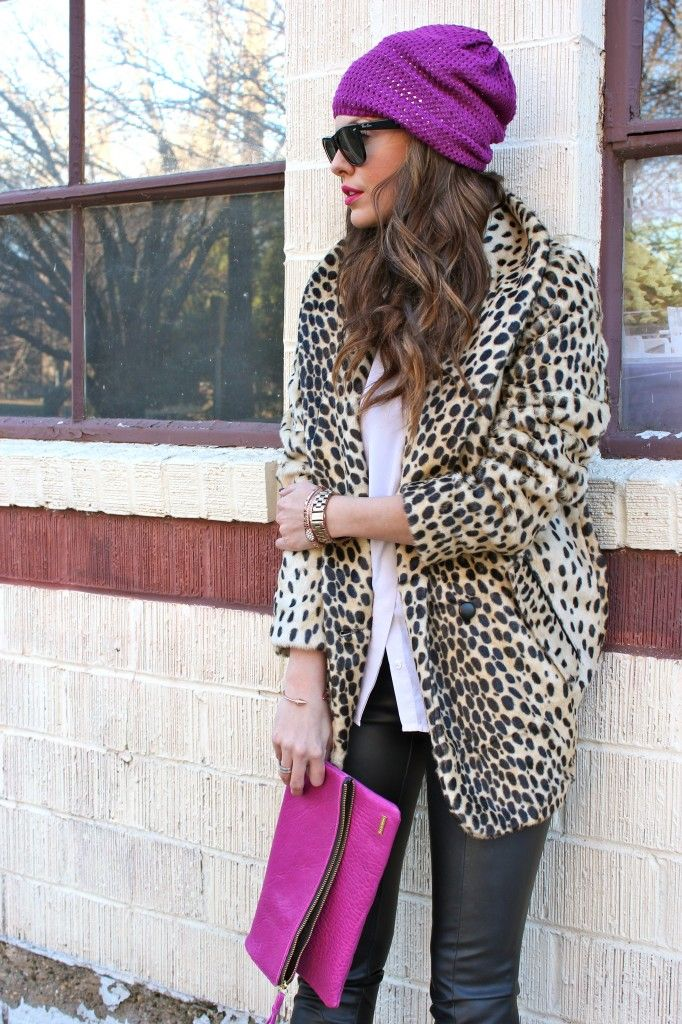 Pink, purple, leopard. Great combination! Style inspiration via What Courtney Wore. #outfit #fashion #bloggerstyle